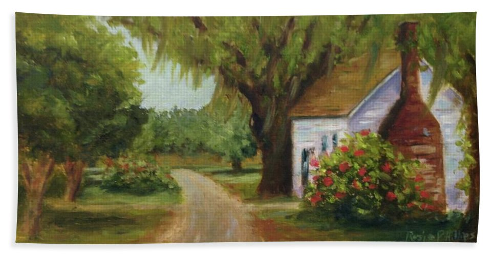 This Is A Little Out Building Off Of Grove Plantation Home At Ace Basin Close To Charleston Bath Towel featuring the painting Ace Basin Cottage by Rosie Phillips