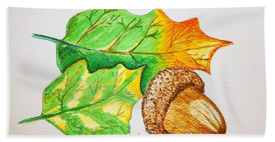 Stationery Card Hand Towel featuring the drawing Acorn And Leaves by J R Seymour