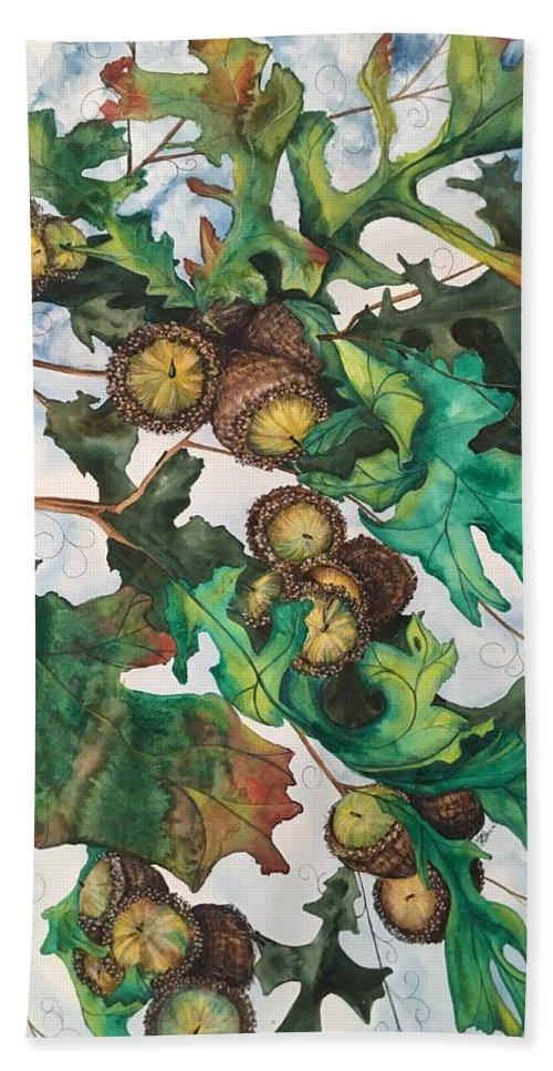 Watercolor Bath Sheet featuring the mixed media Acorns On An Oak by Mastiff Studios