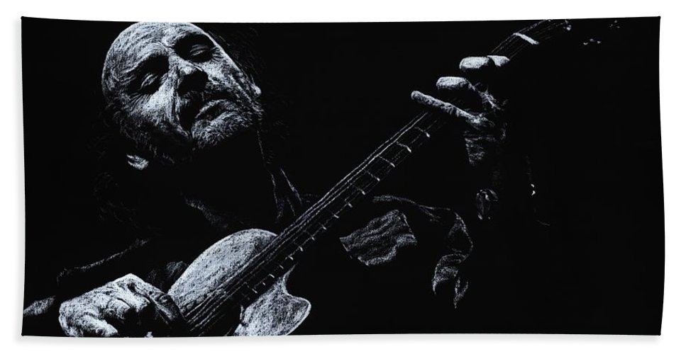 Musician Bath Sheet featuring the pastel Acoustic Serenade by Richard Young