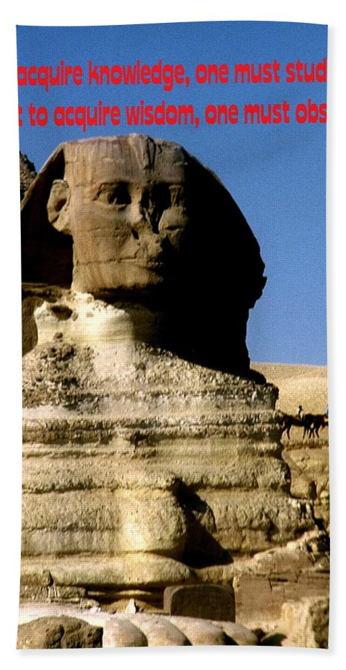 Sphinx Hand Towel featuring the photograph Acquire Knowledge by Gary Wonning