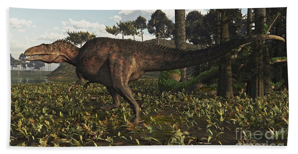 Horizontal Bath Sheet featuring the digital art Acrocanthosaurus Dinosaur Roaming by Arthur Dorety