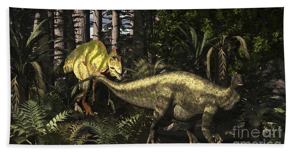 Horizontal Bath Sheet featuring the digital art Acrocanthosaurus Hunting Tenontosaurus by Arthur Dorety