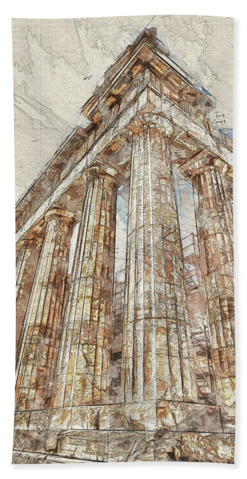 Acropolis Hand Towel featuring the digital art Acropolis IIi by Ronald Bolokofsky