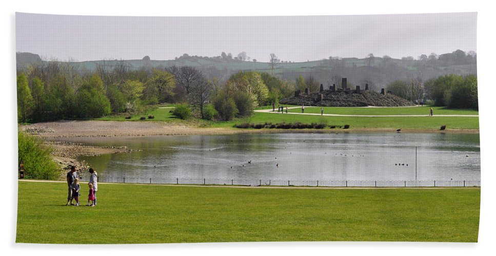Bright Hand Towel featuring the photograph Across Carsington Water To Stones Island by Rod Johnson