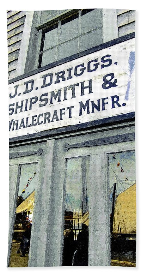 Sign Bath Sheet featuring the painting Across From The Harbor by RC DeWinter