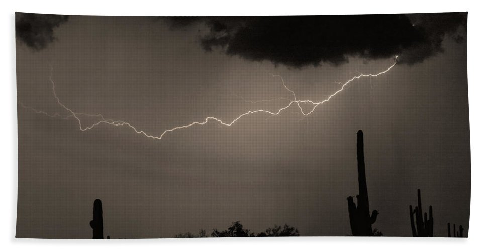 Lightning Bath Sheet featuring the photograph Across The Desert - Sepia Print by James BO Insogna