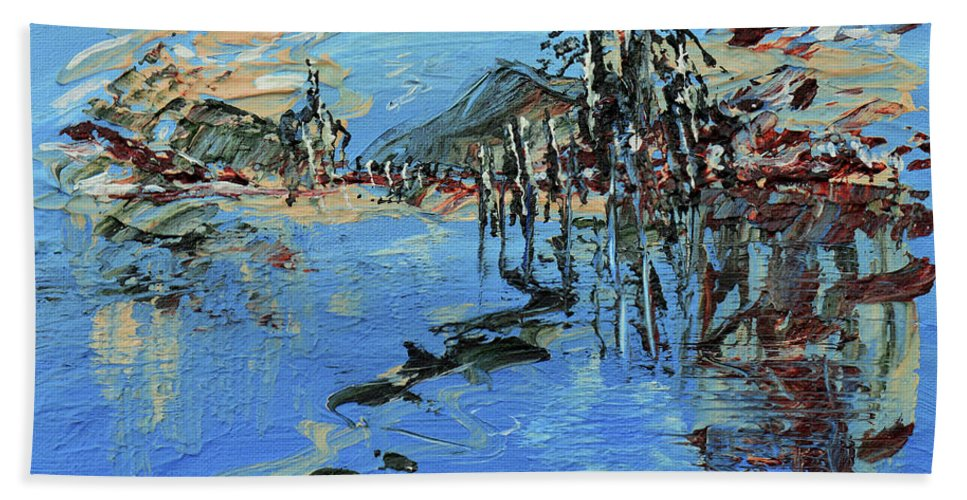 Lake Hand Towel featuring the painting Across The Lake by Donna Blackhall