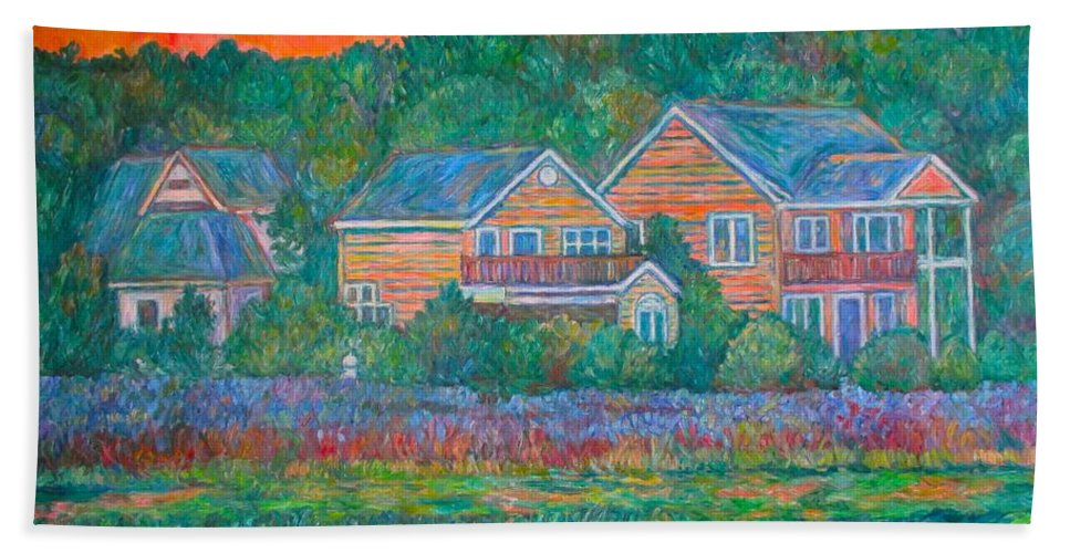 Landscape Hand Towel featuring the painting Across The Marsh At Pawleys Island    by Kendall Kessler