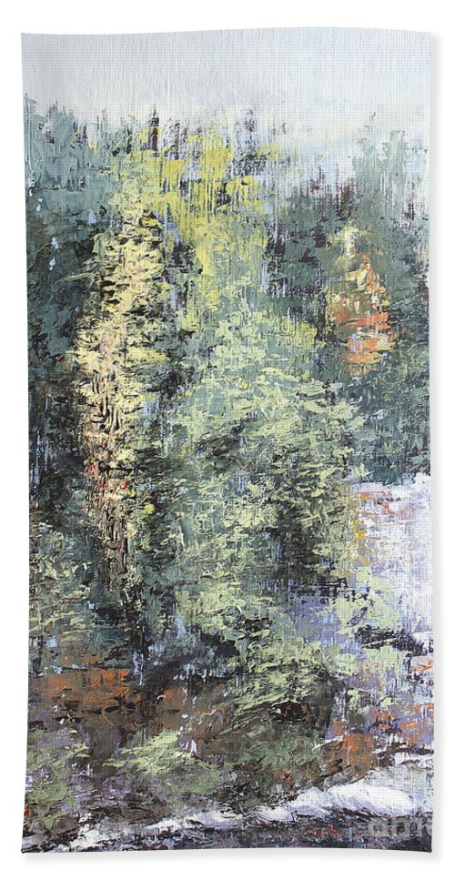 Landscape Bath Sheet featuring the painting Across The Ravine by Todd Blanchard