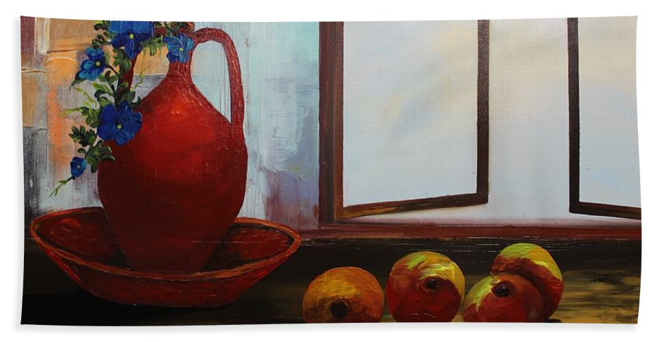 Original Hand Towel featuring the painting Acrylic Msc 253 by Mario Sergio Calzi