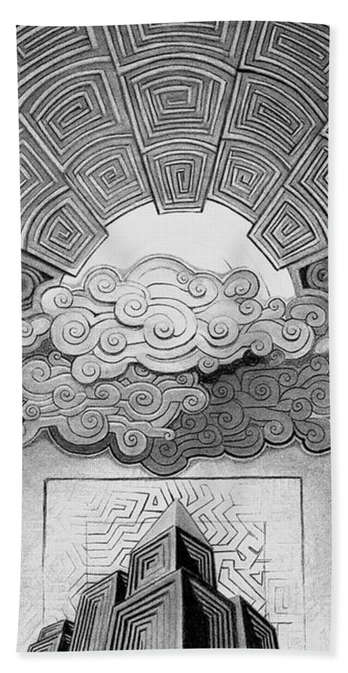 Art Bath Sheet featuring the drawing Active Sky by Myron Belfast