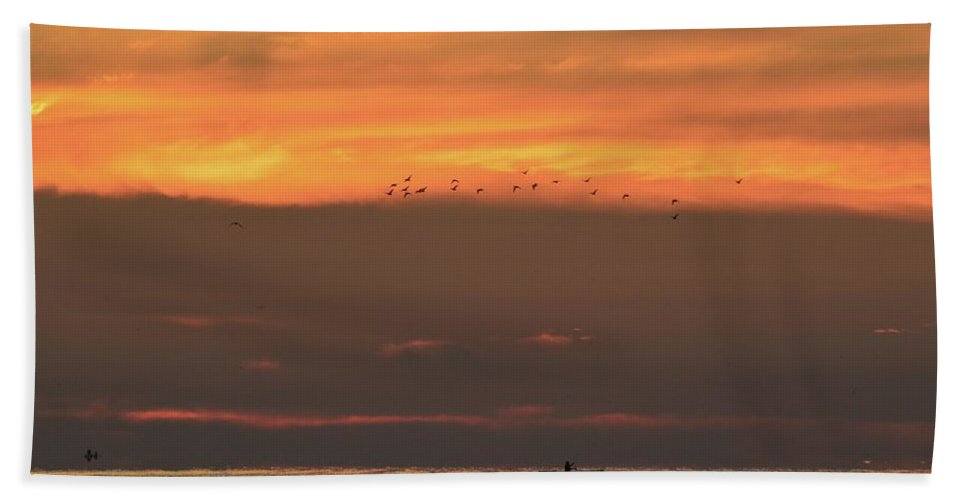 Abstract Hand Towel featuring the photograph Activity On Lake Simcoe by Lyle Crump