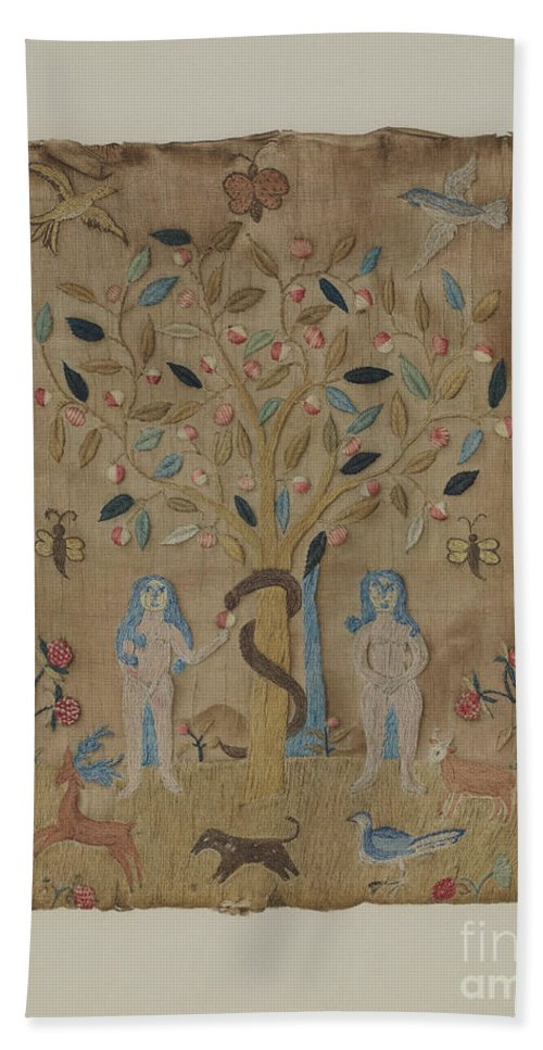 Hand Towel featuring the drawing Adam & Eve Embroidered Picture by Martha Elliot
