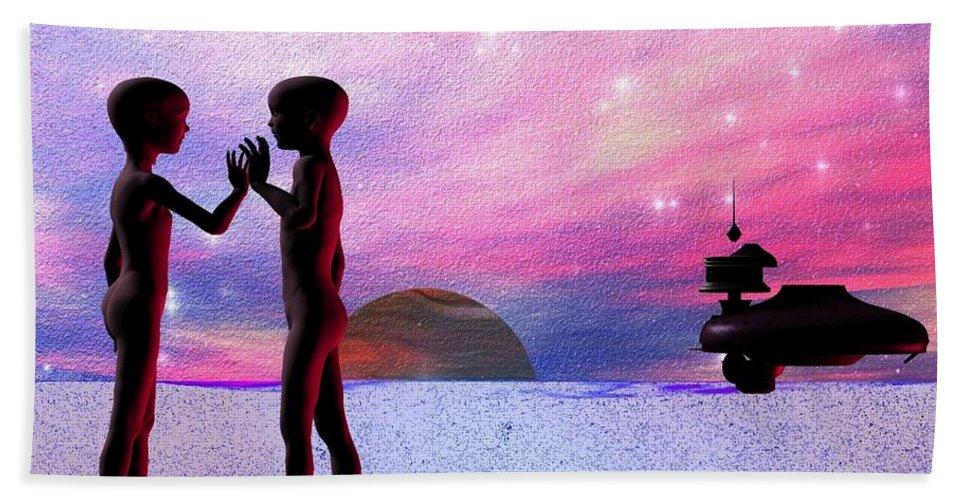 Hand Towel featuring the digital art Adam An Eve by Robert aka Bobby Ray Howle
