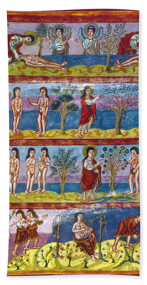9th Century Hand Towel featuring the photograph Adam And Eve. 9th Century by Granger