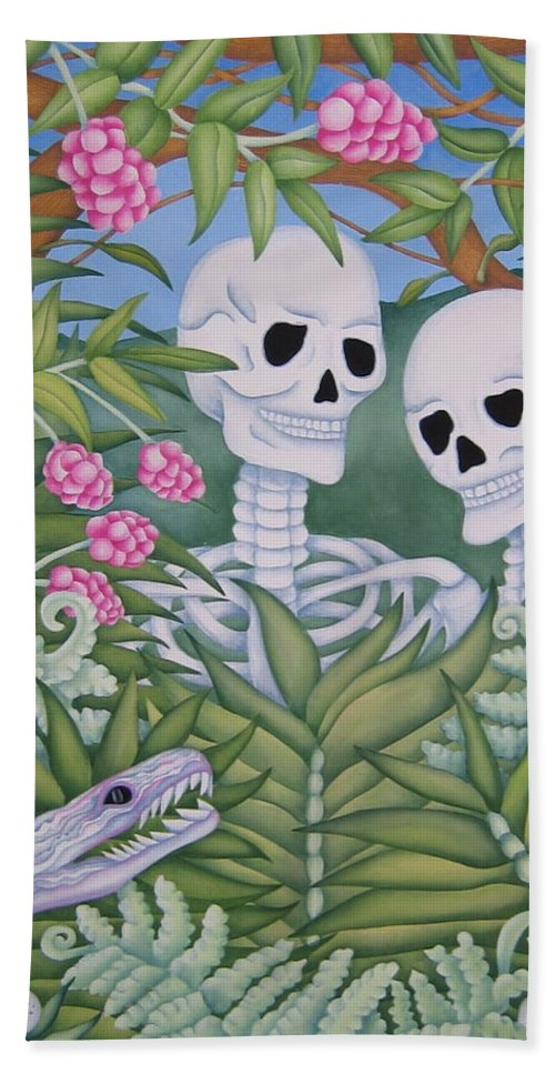 Calavera Bath Sheet featuring the painting Adam And Eve by Jeniffer Stapher-Thomas