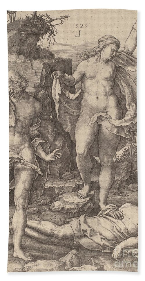 Hand Towel featuring the drawing Adam And Eve Lamenting The Death Of Abel by Lucas Van Leyden