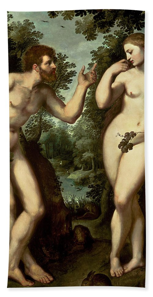 Adam Bath Sheet featuring the painting Adam And Eve by Peter Paul Rubens