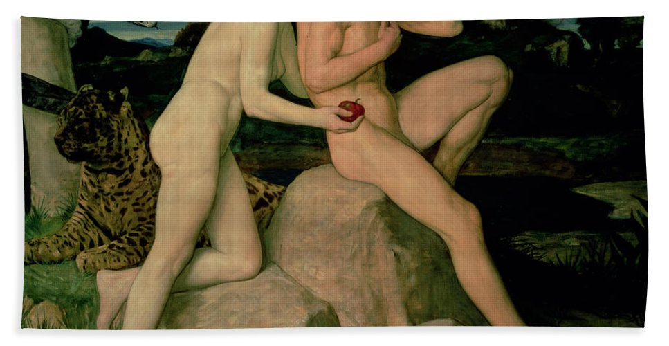 Adam Bath Towel featuring the painting Adam And Eve by William Strang