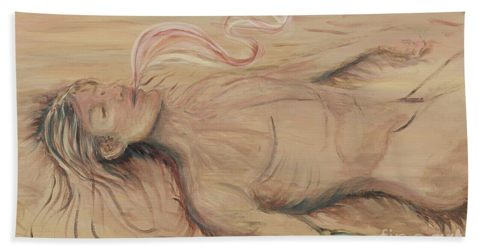 Adam Bath Towel featuring the painting Adam and the Breath of God by Nadine Rippelmeyer