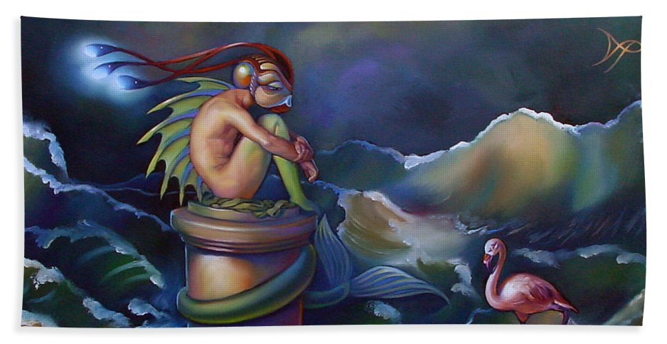 Merman Hand Towel featuring the painting Adam by Patrick Anthony Pierson