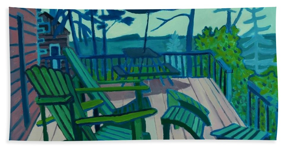 Ocean Hand Towel featuring the painting Adirondack Chairs Maine by Debra Bretton Robinson