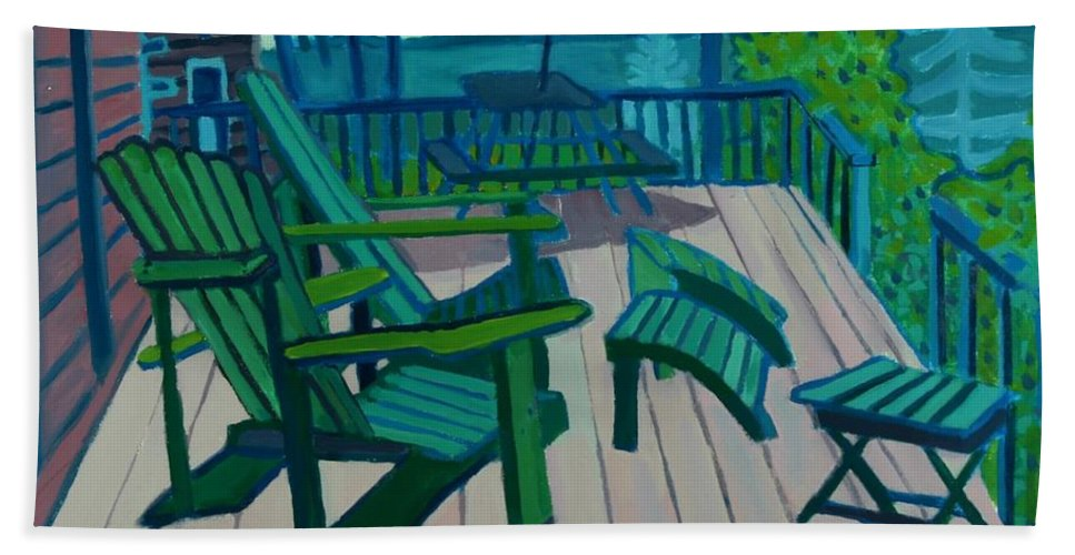 Ocean Bath Towel featuring the painting Adirondack Chairs Maine by Debra Bretton Robinson