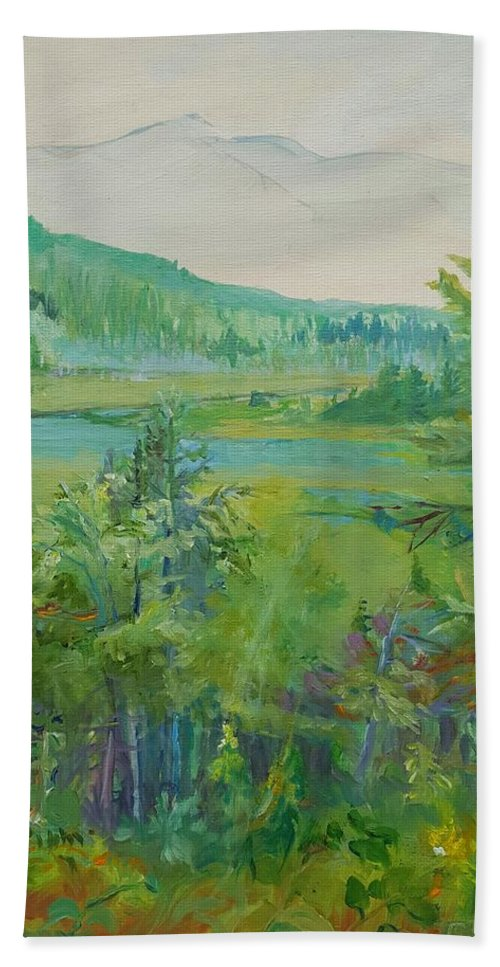 Adirondacks Hand Towel featuring the painting Mountain View by Cheryl LaBahn Simeone