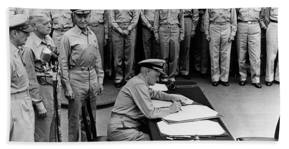 Wwii Hand Towel featuring the photograph Admiral Nimitz Signing The Japanese Surrender by War Is Hell Store