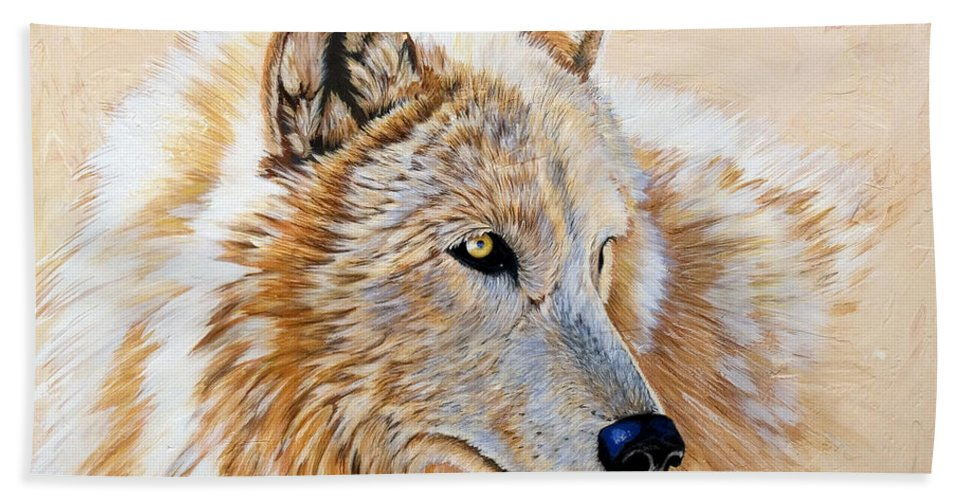 Acrylic Bath Towel featuring the painting Adobe White by Sandi Baker