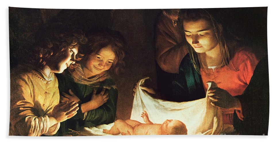 Adoration Of The Baby Hand Towel featuring the painting Adoration Of The Baby by Gerrit van Honthorst
