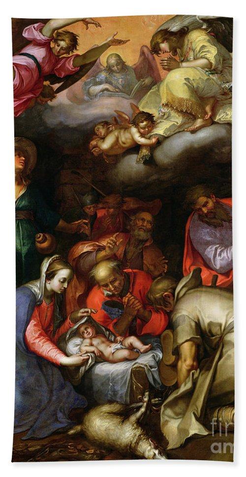 Adoration Of The Shepherds Hand Towel featuring the painting Adoration Of The Shepherds by Abraham Bloemaert