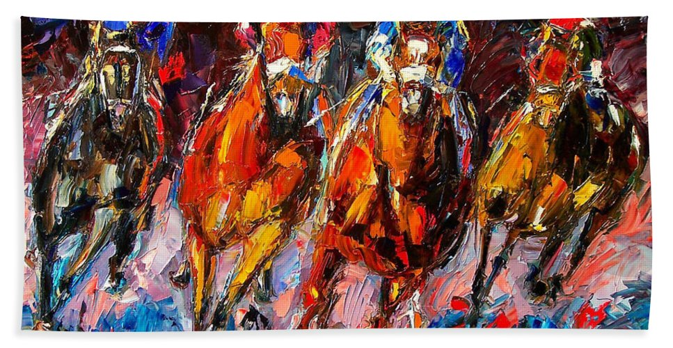 Horse Race Bath Sheet featuring the painting Adrenaline by Debra Hurd