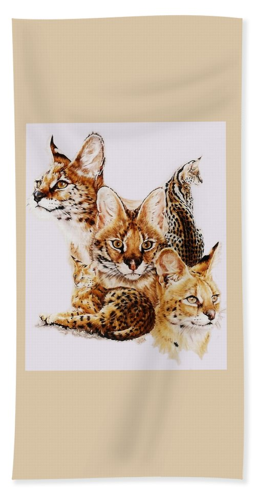 Serval Hand Towel featuring the drawing Adroit by Barbara Keith