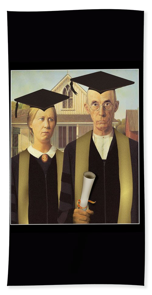 Grant Wood Hand Towel featuring the painting Adult Graduates by Gravityx9 Designs