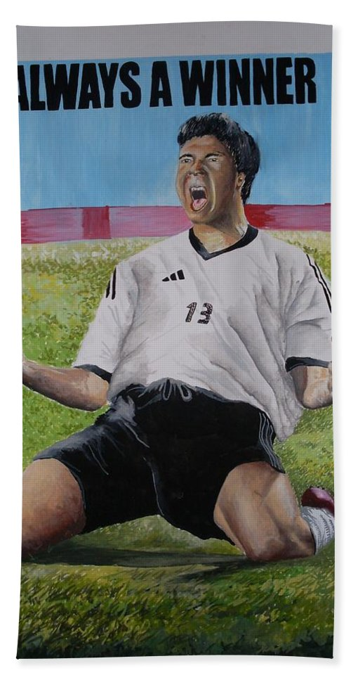 Footballer Hand Towel featuring the painting Advert Paintographic by Olaoluwa Smith