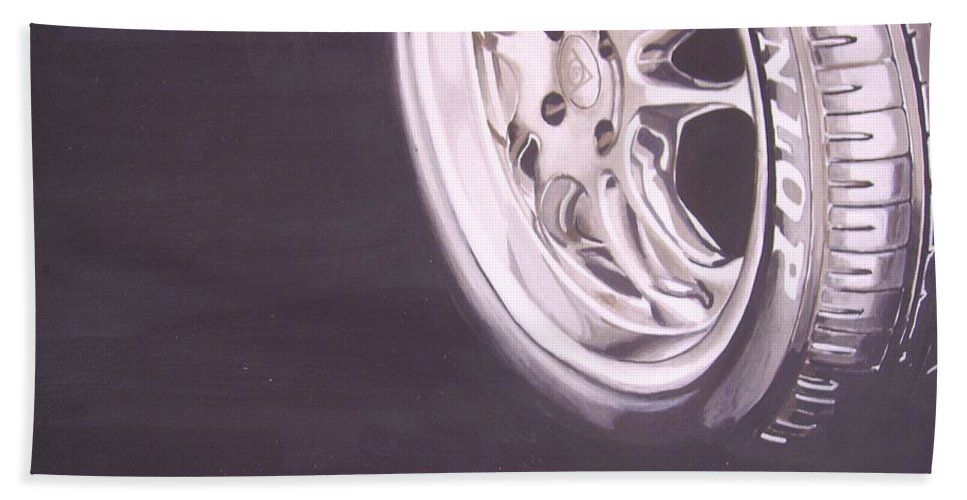 Wheel Hand Towel featuring the digital art Adverts On Tyres by Olaoluwa Smith