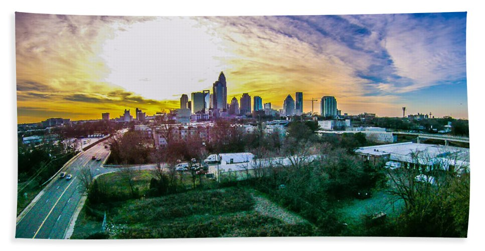 America Bath Sheet featuring the photograph Aerial Of Charlotte North Carolina Skyline by Alex Grichenko