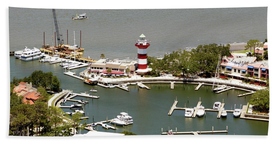 Aerial View Harbour Town Lighthouse In Hilton Head Island Hand Towel featuring the photograph Aerial View Harbour Town Lighthouse In Hilton Head Island by Carol Highsmith