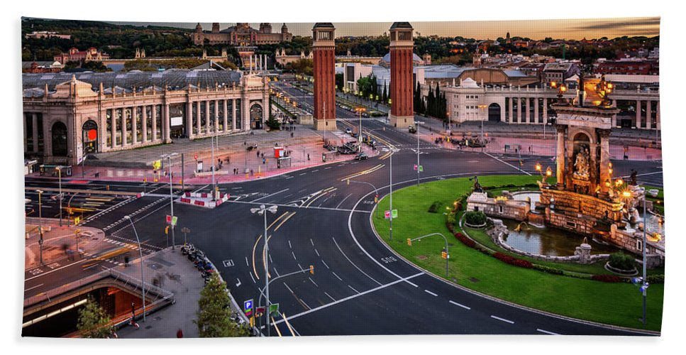 Aerial Bath Sheet featuring the photograph Aerial View On Placa Espanya And Montjuic Hill With National Art by Andrey Omelyanchuk