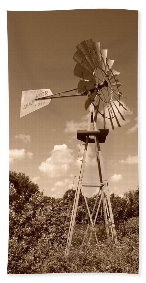 Sepia Hand Towel featuring the photograph Aermotor Windmill by Rob Hans
