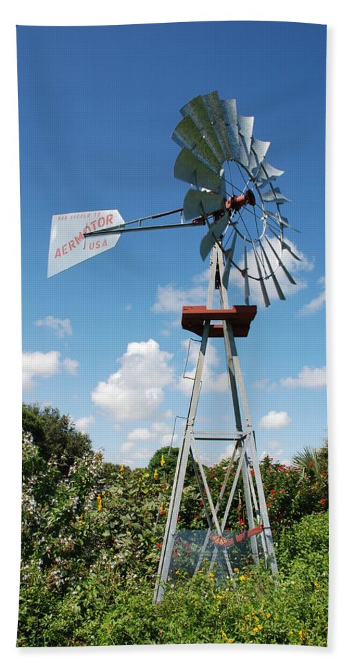 Blue Hand Towel featuring the photograph Aeromotor Windmill by Rob Hans