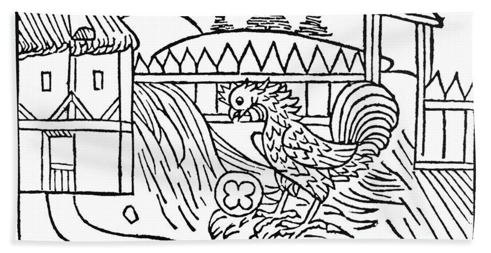 1484 Bath Sheet featuring the photograph Aesop: Cock & Gem by Granger