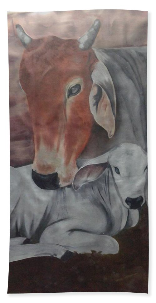 Cow With Her Calf In Motherhood Affection Bath Sheet featuring the painting Affection by Nisha Bharti