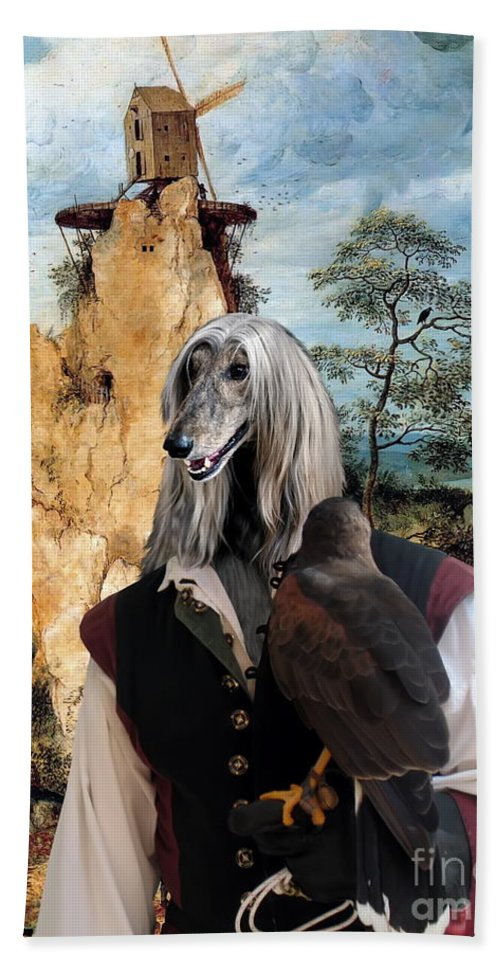Afghan Hound Canvas Bath Sheet featuring the painting Afghan Hound-falconer And Windmill Canvas Fine Art Print by Sandra Sij