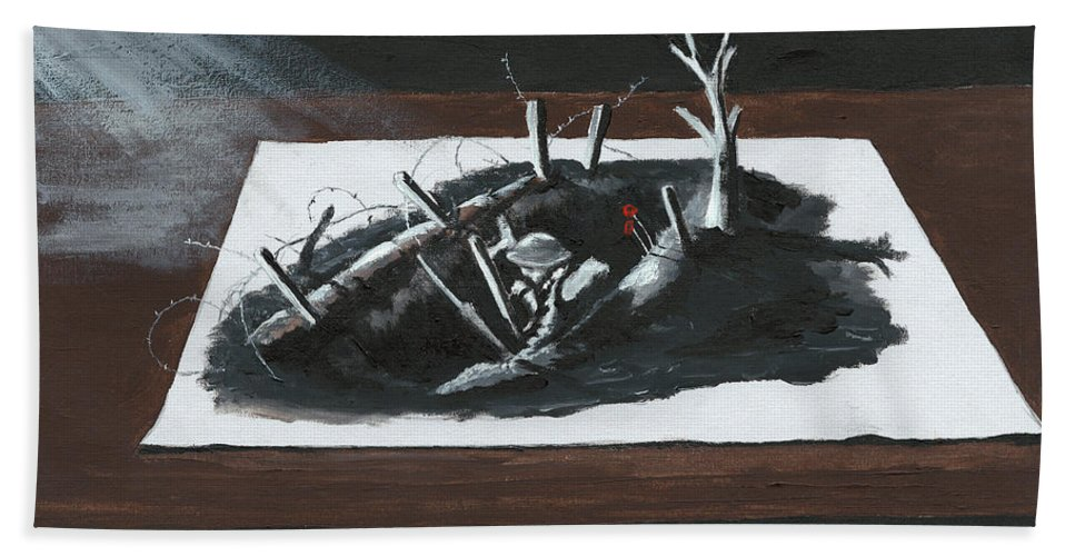 3d Bath Sheet featuring the painting Afraid In The Darkness by Dave H