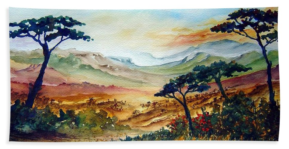 Africa Hand Towel featuring the painting Africa by Joanne Smoley