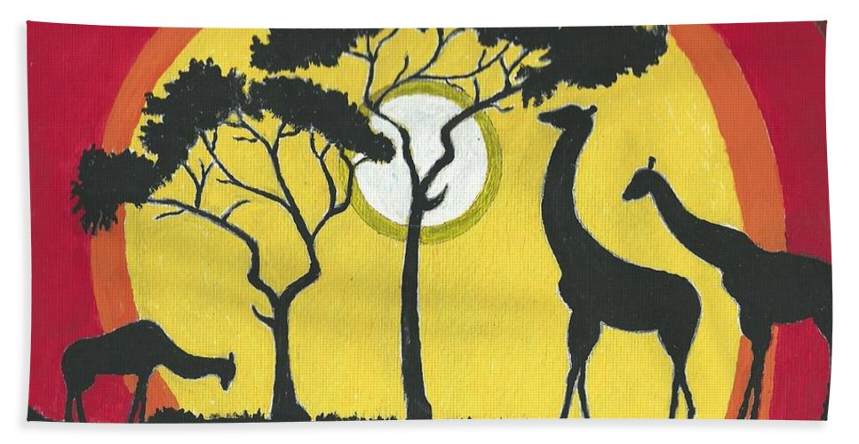 Landscape Bath Sheet featuring the painting Africa#1 by Ruben Cano
