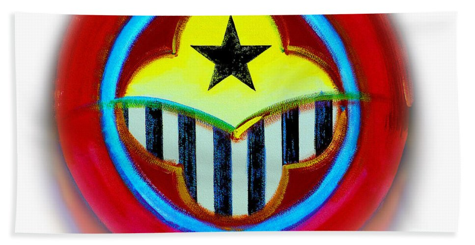 African Bath Towel featuring the painting African American Button by Charles Stuart